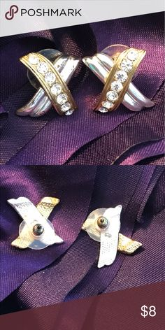 """X's Earrings These pretty earrings have both a gold and silver - tone piece. One side has 7 cz/ crystals?   Studs with new backs. Length 3/4"""", width just short of an inch. Please check out all photos and description before making a reasonable offer. Thanks for looking in my closet! Sorry 🚫 Trades ⭐️Roni ⭐️ Jewelry Earrings"""