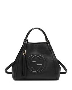 Gucci Soho Leather Shoulder Bag, Nero, Metallic Purple