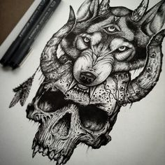 Wolf Skull Tattoo Design - Amazing tattoo design of wolf and skull. - Wolf Skull Tattoo Design – Amazing tattoo design of wolf and skull. Style: Black and Gray - Wolf Tattoos, Skull Tattoos, Leg Tattoos, Body Art Tattoos, Sleeve Tattoos, Tatoos, Skull Tattoo Design, Tattoo Designs, Tattoo Sketches