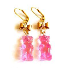 Pink Gummy Bear Earrings Lucite Gummy Candy by FatallyFeminine