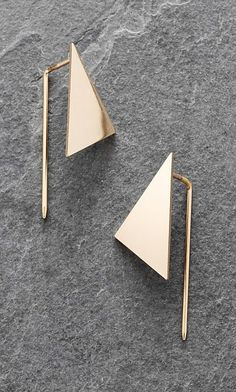 Geo Earrings. Geometric flat triangle earrings with angular ear hook. Pierced ears. L3.5cm. Copper.