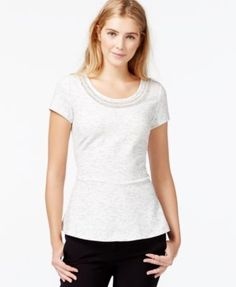 Maison Jules Embellished Peplum Top, Only at Macy's