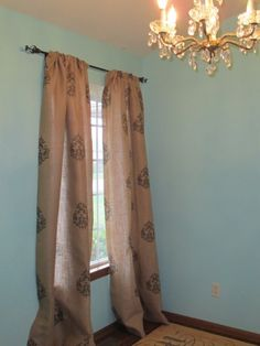 Stenciled burlap curtains