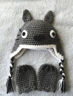 Totoro inspired baby hat & mittens or diaper cover set via Etsy