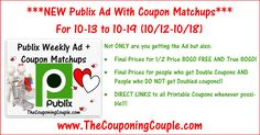 Here is the Publix Ad with Coupon Matchups for 10-13 to 10-19-16 (10/12 to 10/18)! Click the Picture below to check out the NEW Publix Ad with Coupon Matchups ► http://www.thecouponingcouple.com/publix-ad-with-coupon-matchups-for-10-13-to-10-19-16/  Not ONLY are you getting the Ad: 1. Final Prices for 1/2 Price BOGO FREE AND True BOGO! 2. Final Prices for people who get Double Coupons AND People who DO NOT get Doubled coupons!! 3. DIRECT LINKS to all Printable Coupons