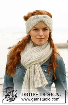 "Set consists of: Knitted DROPS head band and scarf with English rib in ""Alpaca"" and ""Kid-Silk"". ~ DROPS Design"