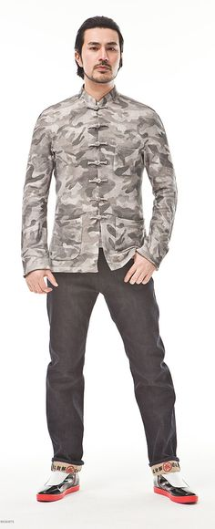 Men Original Traditional Chinese Tang Suit Jacket Style National Trend Blouse Camouflage