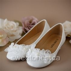 First communion accessories white flower shoes