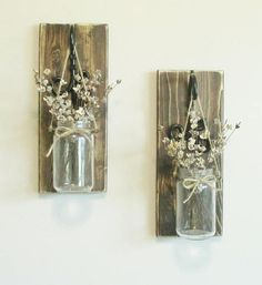 Rustic Farmhouse Weathered Wood Wall Decor... 2  Hanging Glass