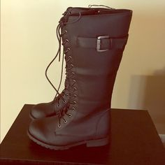 Tall Black Boots Brand New. Never Worn. Purchased from GoJane in the wrong size. Willing to bundle Fast shipping.  Shoes Lace Up Boots