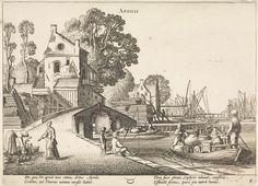 Jan van de Velde (II)   Dorpsgezicht met bedrijvigheid op het water: april, Jan van de Velde (II), 1608 - 1618   Gezicht op een dorp met een stenen brug, waar op de kade en op het water veel bedrijvigheid is, voorstellende de maand april. Links een vrouw bij een bloemenverkoper, op de kade een visser en op het water een roeiboot met een echtpaar en veel huisraad. Onderaan het astrologische symbool van het sterrenbeeld stier. Prent uit een serie van twaalf.