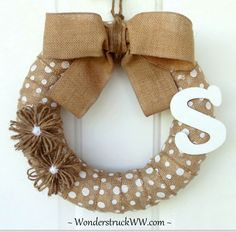 Enter to WIN this Personalized White Polka-Dot Burlap Wreath by clicking on the photo. WINNER gets to choose their initial!