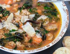 Sausage, White Bean and Swiss Chard Soup — Jillian Rae Cooks Gourmet Recipes, Soup Recipes, Healthy Recipes, Healthy Meals, Barbecue Recipes, Dessert Recipes, White Bean Soup, White Beans, Swiss Chard Recipes