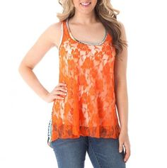 Orange Lace Top.