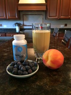 1/2 scoop NOW 1 scoop Provantage 1 cup almond milk	 1/2  ripe peach 1/4 cup blueberries 1 tsp cinnamon Mix in blender and pour in glass. Take 1 LunaRich capsule. To your health!