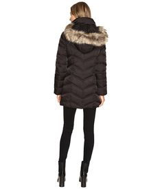 Kenneth Cole New York Chevron Quilted Coat with Fur Hood Black - 6pm.com