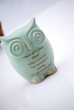 Dr Seuss quote owl in mint green by claylicious on Etsy, $32.00