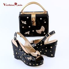 49c645ba0c35 New Arrivals 2017 Black Color Butterfly Shoes and Bag Set to Match  Christmas Gift Handbag Women