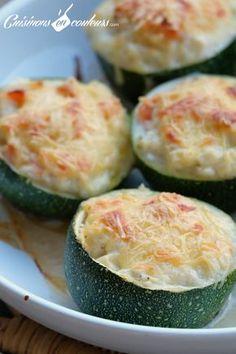 Courgettes farcies fromage et saumon.