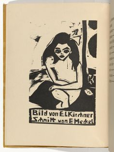 Erich Heckel (Germany, Sitzender Akt (Fraenzi) from KG Bruecke, Woodcut. Interpretation of a Kirchner work for a collaborative book. Moma, Dresden, Linocut Prints, Art Prints, Block Prints, Karl Schmidt Rottluff, George Grosz, Ernst Ludwig Kirchner, Emil Nolde