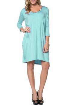 3/4 Sleeve A-Line Tunic Dress