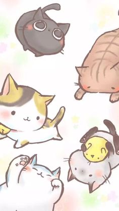 Blossom Wallpapers & IG Stories Vorlagen spring wallpaper - Diy And Crafts Cute Animal Drawings Kawaii, Cute Cat Drawing, Kawaii Drawings, Cute Drawings, Wallpaper Gatos, Cute Cat Wallpaper, Kawaii Wallpaper, Cat Phone Wallpaper, Kawaii Doodles
