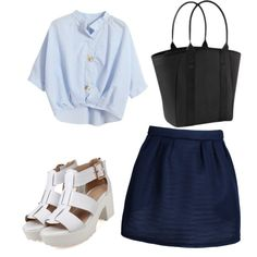 denim blue by arahmarina on Polyvore featuring polyvore fashion style Chicnova Fashion Maison Kitsuné Athleta