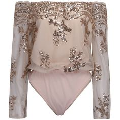 Pink Off Shoulder Sequins Embroidery Sheer Flared Sleeve Bodysuit (130 MYR) ❤ liked on Polyvore featuring intimates, shapewear and pink