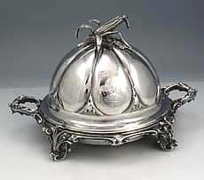 Gorham coin silver covered butter dish #SterlingSilverServingPieces