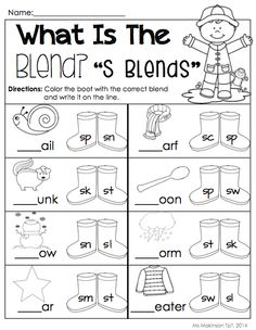 April Printable Packet - Kindergarten Literacy and Math. S Blends! [Ms. Makinson]