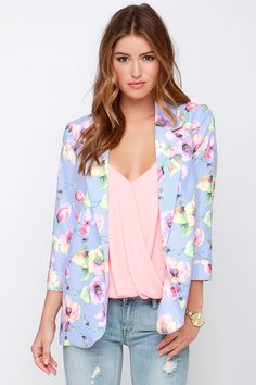 Talk Flower Shop Lavender Floral Print Blazer at Lulus.com!