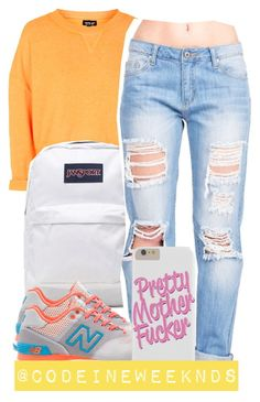 """""""7:22:15"""" by codeineweeknds ❤ liked on Polyvore featuring Topshop, JanSport and New Balance"""