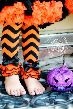 Black and Orange Chevron Leg Warmers with by southernbelle972, $12.00