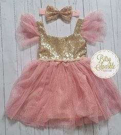 Pink and gold girls first birthday party dress and by BitsySparkle