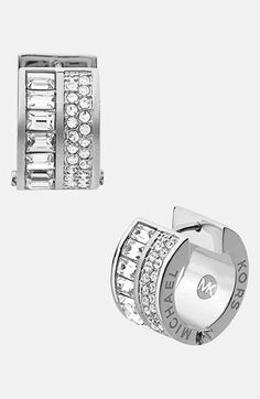 Nordstrom Clothes - Michael Kors 'Brilliance' Pavé Small Hoop Earrings available at I loved them. Anillo Michael Kors, Michael Kors Earrings, Handbags Michael Kors, Mk Handbags, Bling Bling, Nordstrom, Bago, Everyday Fashion, Jewelry Accessories