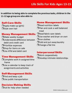 FREE Life Skills Checklist for Kids and Teens