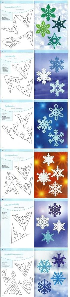 DIY Paper Schemes of Snowflakes crafts winter kids art lesson vinter barn pyssel paper papper templates mallar snöstjärnor