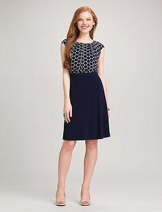 Navy Polka Dot Dress  'dressbarn' Hidden back zip; bodice lined only; A-line skirt 100% polyester