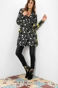 c441eb63cf4 Desigual Black and white wool blend coat. Discover the most sophisticated  range with Desigual by L!