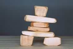 Wooden Inukshuk, wooden blocks, stackable toy, Inuit art