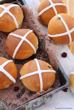 Soft and with a touch of spices and packed with dried fruit, hot cross buns are usually a Good Friday treat.