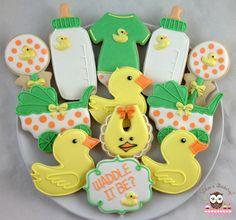 Baby Shower Cookies, Gender Reveal Cookies, Waddle it be?, Duck cookies, baby bottle cookies, jumpsuit cookies, onesie cookies, rattle cookies, pram cookies, gender neutral cookies, bib cookies