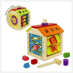 This multifunction centre is full of activities, a clock, abacus and shape sorter to name a few. Its made from sustainable rubberwood and non toxic paints..:)