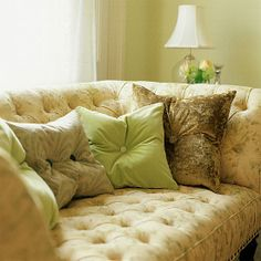 vintage sofa with comfy pillows