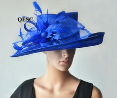 BIG Cobalt blue hat large dress church sinamay hat fascinator with feather flower,for Kentucky derby,wedding party races church Kentucky Derby Outfit, Cobalt Blue Weddings, Sinamay Hats, Fascinators, Headpieces, Ascot Hats, Women's Hats, Funky Hats, Derby Outfits