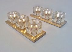Peill & Putzler pair vintage wall lights brass & glass cubes, 1970`s ca, German @ www.roomscape.net