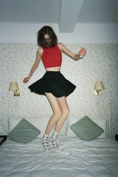 red crop top and black skirt, simple yet chic
