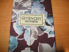 Vintage Givenchy Monsieur 100% Silk Automn Flowers Floral Men's Tie Necktie…