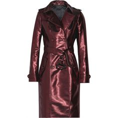 Burberry Prorsum Lamé trench coat (9,795 GTQ) ❤ liked on Polyvore featuring outerwear, coats, burberry, coats & jackets, tops, merlot, trench coat, red trench coat, red coat and red trenchcoat