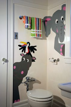 Now you can even have fun decorating a bathroom with this cute paint-by-number mural from Elephants on the Wall. Wall Stickers Toilet, Diy Wall Painting, Mural Painting, Daycare Design, Kindergarten Design, Murals For Kids, Wall Drawing, Elephant Nursery, School Decorations